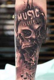 9张暗黑写实的一组骷髅纹身图案