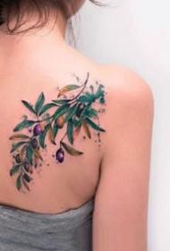 9张橄榄枝和果实的植物纹身图案