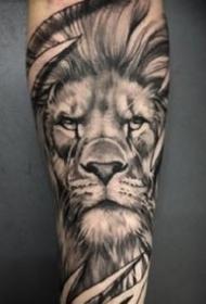 一组霸气的写实黑灰狮子纹身图片