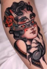 27张红色调风格的school女郎纹身图案