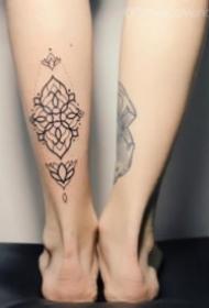 9组小腿后面的小清新成对纹身图案