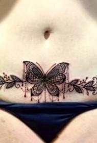 女性腰腹部私密处性感的纹身图片