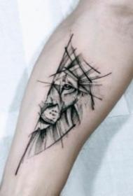 黑灰帅气的一组几何图形狮子纹身图片