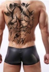 男性背部的霸气大满背纹身作品效果图