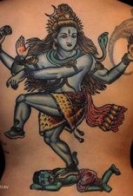 印度宗教纹身图案 毁灭之神和舞神之称的三相神之一湿婆神印度纹身图案