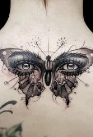 纹身蝴蝶女   翩翩起舞的蝴蝶纹身图案