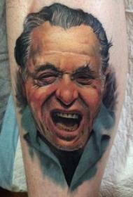 人物肖像纹身  面部表情丰富而又形象的人物肖像纹身图案
