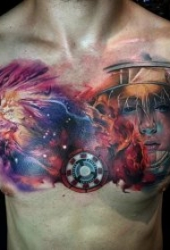 水彩彩绘纹身图案 身体各个部位彩色泼墨风格的水彩纹身抽象纹身图案