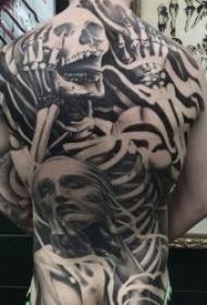 骷髅人物纹身  9张色调沉闷骇人的骷髅人物纹身图案