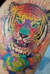 老虎头纹身 10张凶猛霸气的老虎头纹身图案