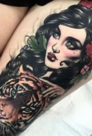 女郎纹身图 9张包臂的漂亮纹身女郎图案