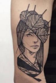 女郎纹身线图 黑灰色的9张女郎纹身线图作品