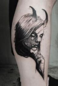 暗黑主题的一组人物女郎纹身图案