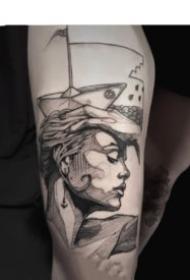 来自法国艺术家的创意人物点线设计纹身图案