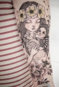 适合萌妹纸的一组卡通小姑娘纹身图片