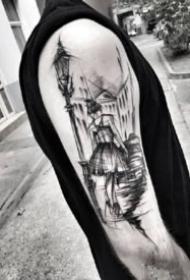 黑灰手臂点线纹身 别有一番风味的手臂点线黑灰纹身图片