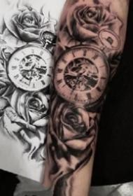 小臂钟表纹身 18款欧美风格包臂钟表纹身图案