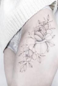 女生素花纹身 适合女孩子的小清新花朵线条纹身图案