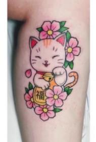 纹身招财猫图案 9款可爱的招财猫主题纹身图案