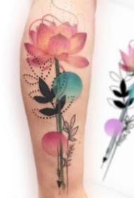 花卉纹身 9款唯美的小清新水彩花朵纹身图片