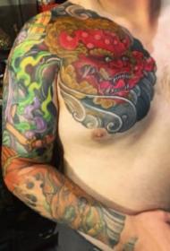 日式传统的一组花臂花腿纹身图片欣赏
