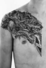 男性胸部纹身 黑灰色的9张男士胸前纹身作品图案