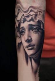 很逼真的一组素描写实人像纹身图案