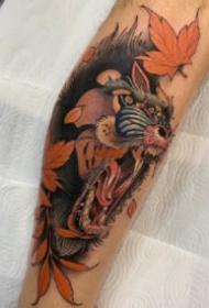 school风格的一组彩色可爱动物纹身图案