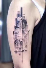 很优秀的一组9张精致几何拼接纹身图案