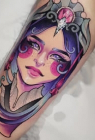 女郎纹身 9张水彩色的女郎纹身作品图片
