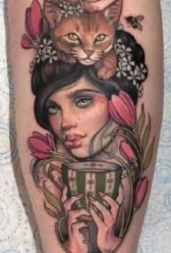 独特古典韵味的女性肖像纹身--纹身艺术家Hannah Flowers作品