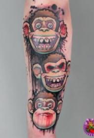 猩猩纹身 不同风格的一组9张猩猩猴子纹身图片