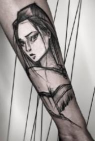 适合男性小臂的帅气点线纹身作品图案