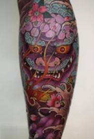 传统6款小腿唐狮纹身图案-越南纹身师Jun Teppei作品