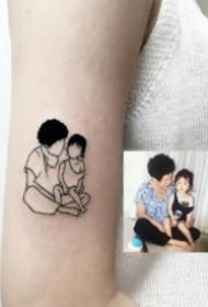 相片纹身 27款把相片转化成简笔画的纹身图片作品
