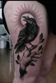 乌鸦纹身 37款漂亮的乌鸦纹身作品图案
