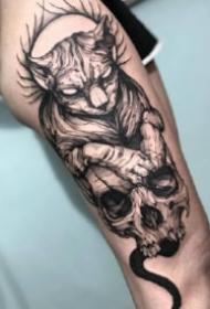 暗黑风格的9款包臂骷髅纹身作品图片