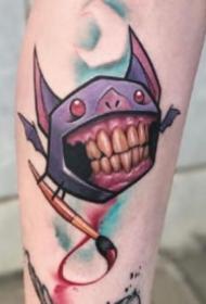大牙怪卡通纹身-涂鸦艺术家Josh Peacock创作的纹身作品