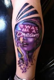 一组欧美炫彩人像写实纹身素材欣赏