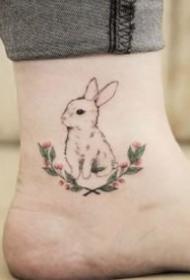 一组可爱的小兔子纹身图案欣赏