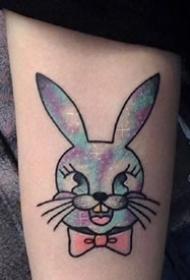 一组可爱的水彩小兔子纹身图案欣赏