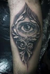 手臂黑色写实的几款大眼睛纹身图