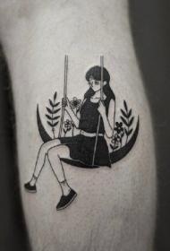 黑白色月亮和小清新女郎的一组创意纹身小图