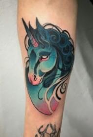 独角兽刺青 18款独角兽的的纹身作品素材图片
