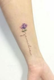 手腕脚踝等部位18款小清新英文花卉纹身图案