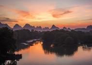 广西桂林漓江晚霞风景图片(7张)