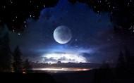 宇宙星空与月亮图片(8张)