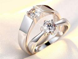 结婚钻石戒指 男女款对戒结婚戒