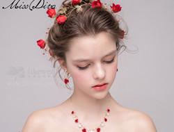 红色新娘发型饰品 新娘发型