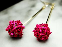 长款新娘水晶花朵耳环